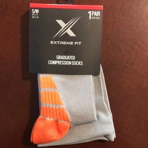 Accessories - Knee high compression socks gray w orange foot